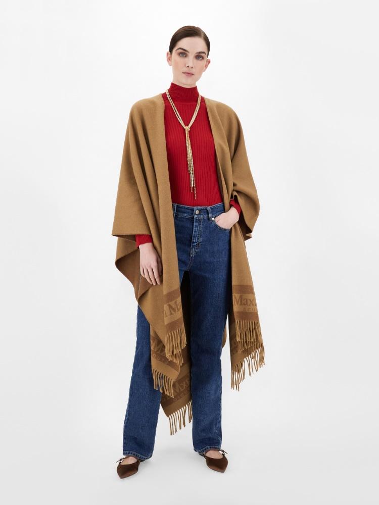 Jacquard-knit wool cape
