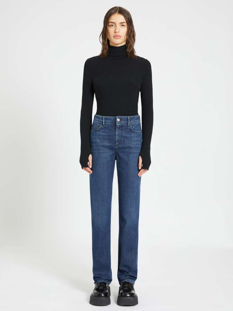 Wide-fit slub jeans