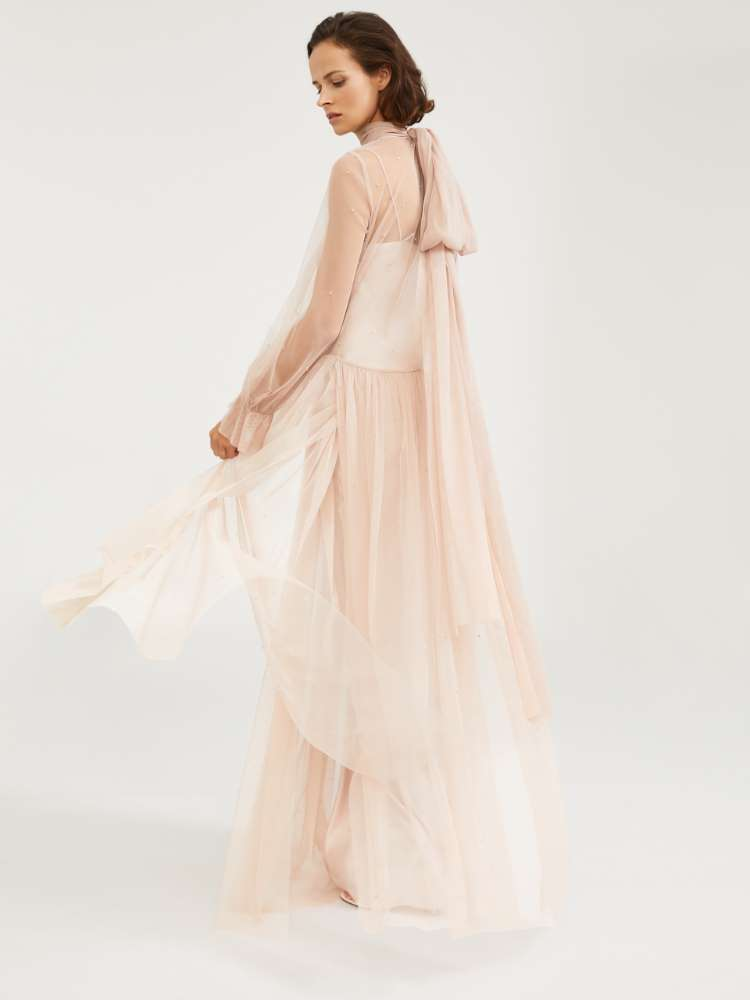 Dress in embroidered tulle