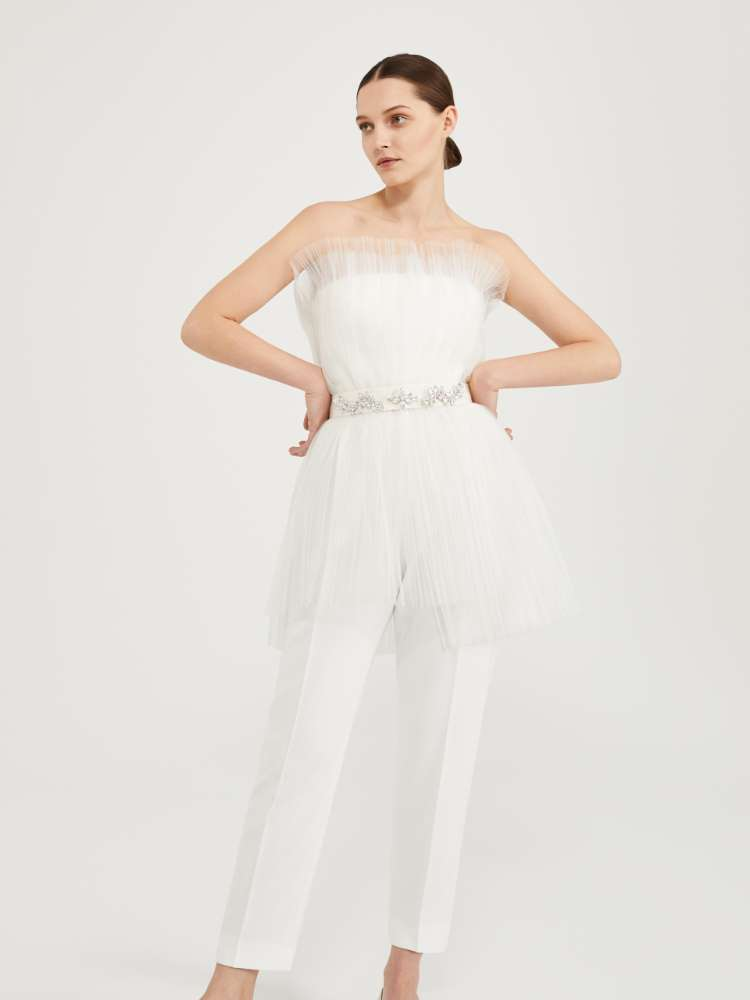 Jumpsuit in cady and pleated tulle